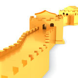 3d golden Great Wall of China. On white background  3D illustration Stock Image