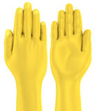 3D Golden hand flat palm front and back Stock Images