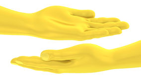 3D Golden hand flat palm up gesture Royalty Free Stock Image