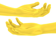 3D Golden hand give open-handed gesture Royalty Free Stock Photos