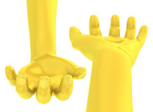 3D Golden hand give open-handed gesture Royalty Free Stock Photography