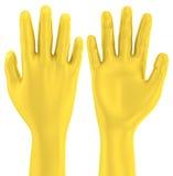 3D Golden hand's up gesture Stock Image