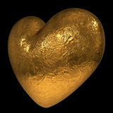 3D golden heart. Abstract 3D golden heart isolated on black background Stock Images