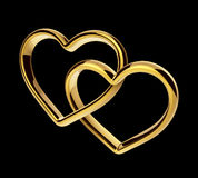 3d golden hearts connected together. Linked engagement rings, love and marriage symbol; Valentines Day clip art on black background Stock Photography