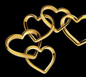3d golden hearts linked together into chain Stock Images
