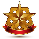 3d golden heraldic blazon with glossy pentagonal star, best for Royalty Free Stock Photo