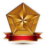 3d golden heraldic blazon with glossy pentagonal star, best for Stock Photo