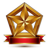 3d golden heraldic blazon with glossy pentagonal star, best for. Web and graphic design, clear EPS 8 vector. Decorative coat of arms with red wavy ribbon Stock Photos