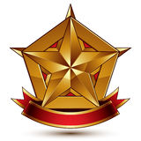3d golden heraldic blazon with glossy pentagonal star, best for. Web and graphic design, clear EPS 8 vector. Decorative coat of arms with red wavy ribbon Royalty Free Stock Photo