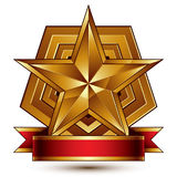 3d golden heraldic blazon with glossy pentagonal star, best for Stock Images