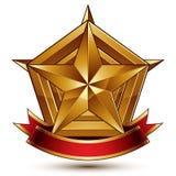 3d golden heraldic blazon with glossy pentagonal star, best for Stock Photos