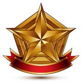 3d golden heraldic blazon with glossy pentagonal star. 3d golden heraldic blazon with glossy pentagonal star, best for web and graphic design, clear EPS 8 Royalty Free Stock Photo