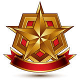 3d golden heraldic blazon with red filling and glossy pentagonal. Star, best for web and graphic design, clear EPS 8 vector. Decorative coat of arms with red Stock Photography