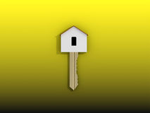 3D golden home key on yellow background Royalty Free Stock Photo