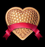 3d golden jewelry heart symbol with red ribbon Royalty Free Stock Images