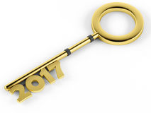 3d Golden key with the inscription 2017. On a white background Royalty Free Stock Image