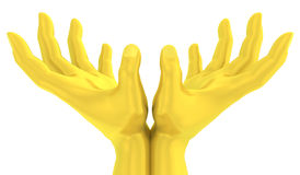3D Golden lotus hand gesture stock illustration