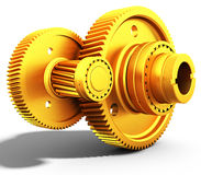 3d golden metallic gears. On white background Stock Images