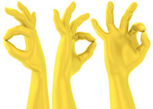 3D Golden Ok sign hand gesture Royalty Free Stock Photos