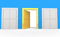 3d golden open door of opportunity Royalty Free Stock Image