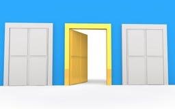 3d golden open door of opportunity. 3d render of golden open door of opportunity in a blue wall Royalty Free Stock Image