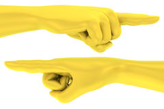 3D Golden pointing finger hand gesture Stock Photography