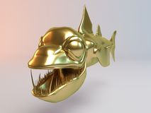 3D golden predator fish (Piranha). Golden 3D animal (Piranha) inside a stage with high render quality to be used as a logo, medal, symbol, shape, emblem, icon Royalty Free Stock Images