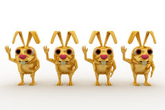 3d golden rabbit on queue concept Royalty Free Stock Image
