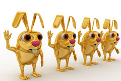 3d golden rabbit on queue concept Stock Photography