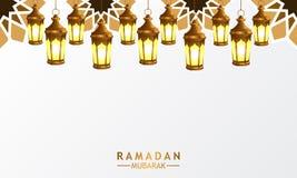 3D golden realistic hanged fanoos lantern lamp with mandala decoration for ramadan. 3D golden realistic hanged fanoos lantern lamp with mandala decoration for stock illustration