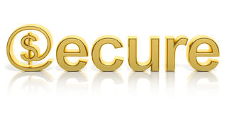 3D golden secure text and money Royalty Free Stock Images