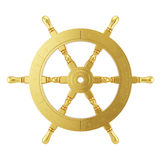 3d golden ships wheel rendering Stock Photos