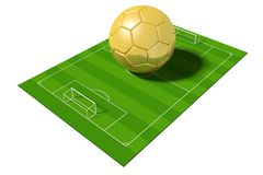 3D golden soccer ball/ football. 3D soccer field and golden soccer ball - isolated on white background - great for topics like championship, winner etc Stock Photography
