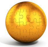 3d golden spherical puzzle Stock Photography