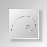 3D golden-spiral Button Icon Concept Royalty Free Stock Image