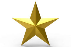 3D golden Star. Isolated on a white background Stock Photos