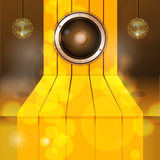 3D Golden step with speaker and disco balls Royalty Free Stock Image