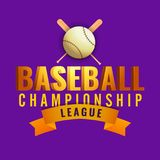 3D golden text Baseball isolated on purple background with bat a. Nd ball illustration of sports tournament concept Stock Photo