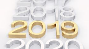 3D Golden Text 2019 new year royalty free stock images