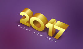 3D Golden Text 2017 for New Year celebration. 3D Golden Text 2017 on shiny background, Happy New Year Party celebration Poster, Banner or Flyer Stock Illustration