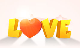 3D Golden Text for Valentine`s Day celebration. Stock Photography