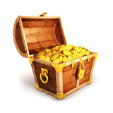 3d golden treasure chest. White background, 3d image Stock Photos
