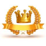 3d golden trophy and laurel Stock Images