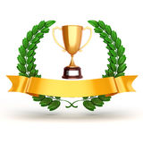 3d golden trophy and laurel Stock Photography