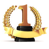 3d golden trophy and laurel Royalty Free Stock Image
