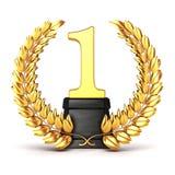 3d golden trophy and laurel Stock Image