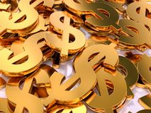 3D Golden USD currency symbols. 3D rendering of pile of golden USD currency symbols Stock Image
