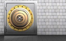 3d golden vault door golden vault door Stock Photo