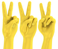 3D Golden victory sign hand gesture Royalty Free Stock Photos