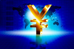 3d golden Yen sign with world Stock Photography
